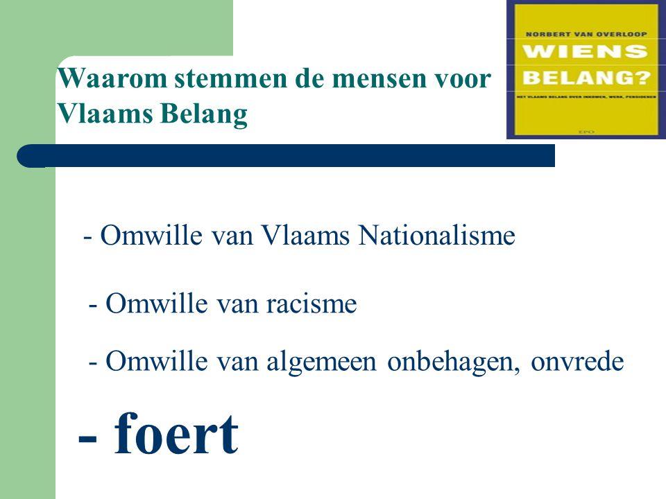 Waarom stemmen de mensen voor Vlaams Belang - Omwille van Vlaams Nationalisme - Omwille van racisme - Omwille van algemeen onbehagen, onvrede - foert