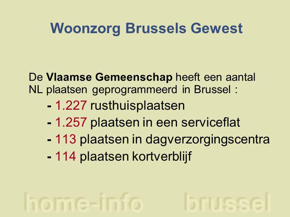 Woonzorg Brussels Gewest De Vlaamse Gemeenschap heeft een aantal NL plaatsen geprogrammeerd in Brussel : - 1.227 rusthuisplaatsen - 1.257 plaatsen in een serviceflat - 113 plaatsen in dagverzorgingscentra - 114 plaatsen kortverblijf
