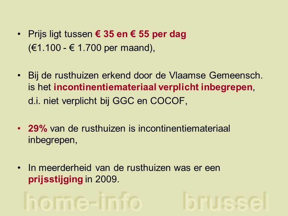 Prijs ligt tussen € 35 en € 55 per dag (€1.100 - € 1.700 per maand), Bij de rusthuizen erkend door de Vlaamse Gemeensch. is het incontinentiemateriaal