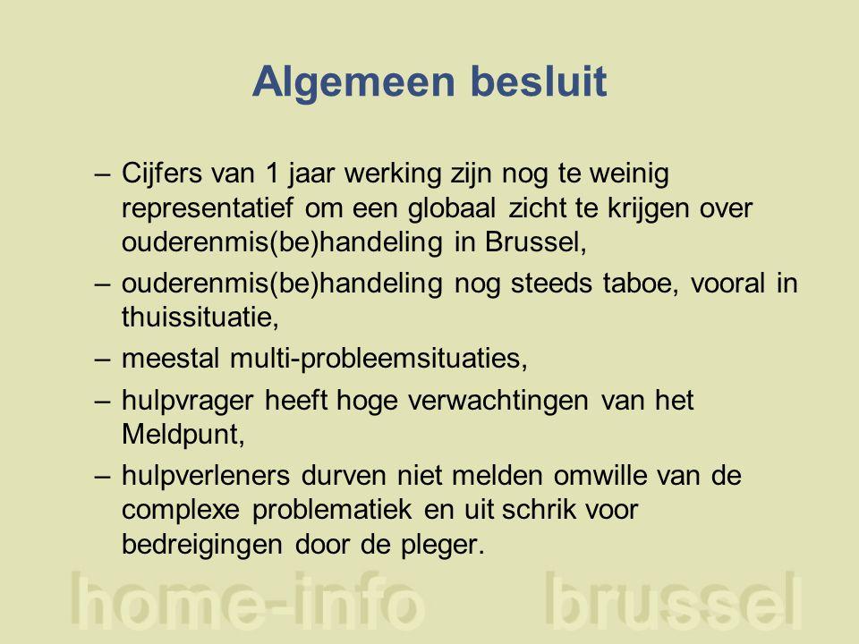 Algemeen besluit –Cijfers van 1 jaar werking zijn nog te weinig representatief om een globaal zicht te krijgen over ouderenmis(be)handeling in Brussel