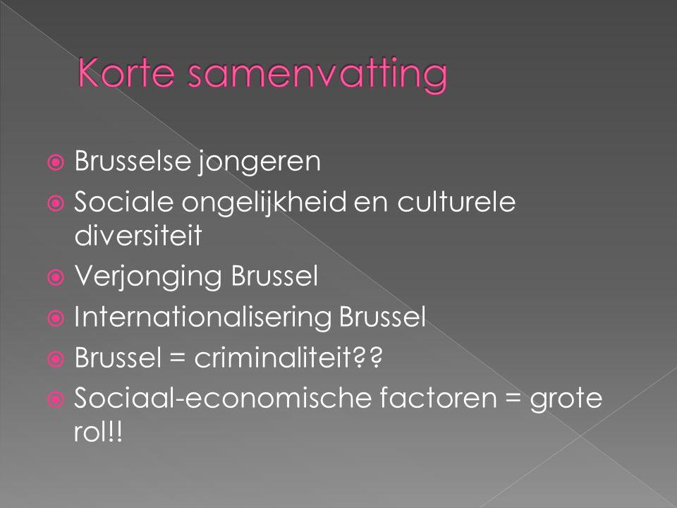  Brusselse jongeren  Sociale ongelijkheid en culturele diversiteit  Verjonging Brussel  Internationalisering Brussel  Brussel = criminaliteit?.