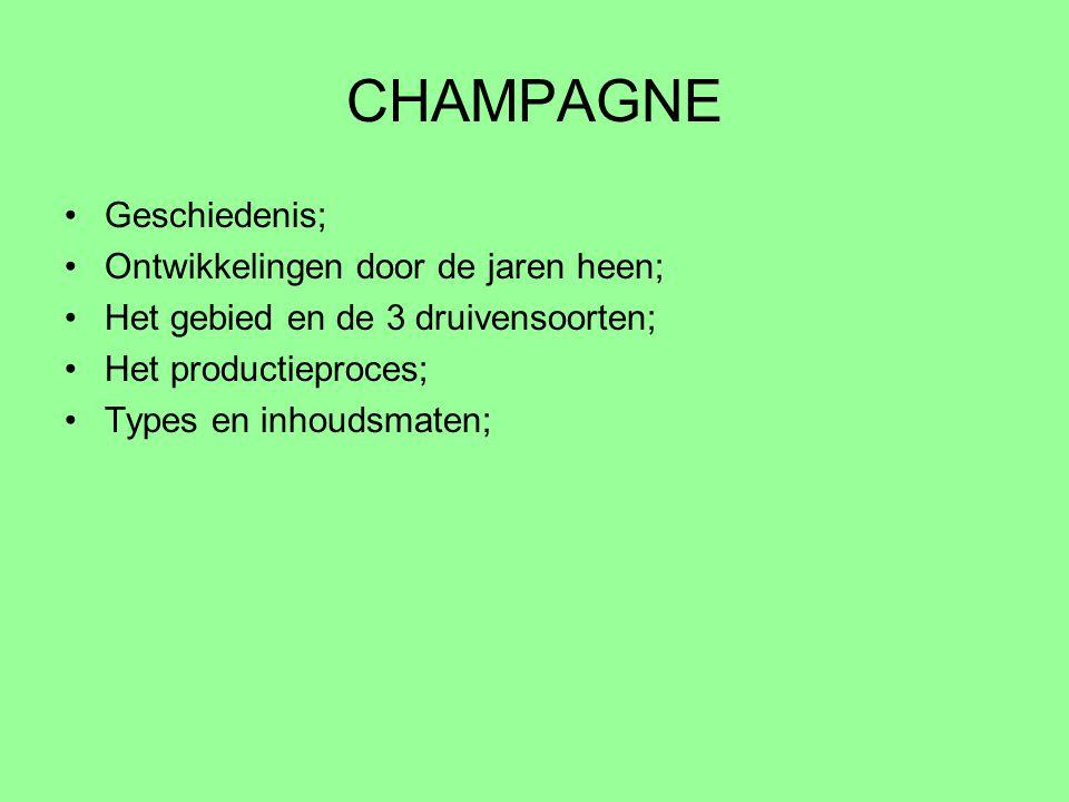 GESCHIEDENIS De bodem van het champagne gebied bestaat uit kalk en krijt en is zeer gunstig voor de wijnstok.