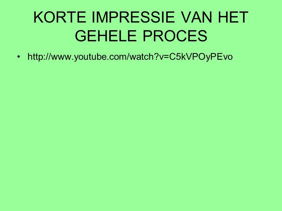 KORTE IMPRESSIE VAN HET GEHELE PROCES http://www.youtube.com/watch?v=C5kVPOyPEvo