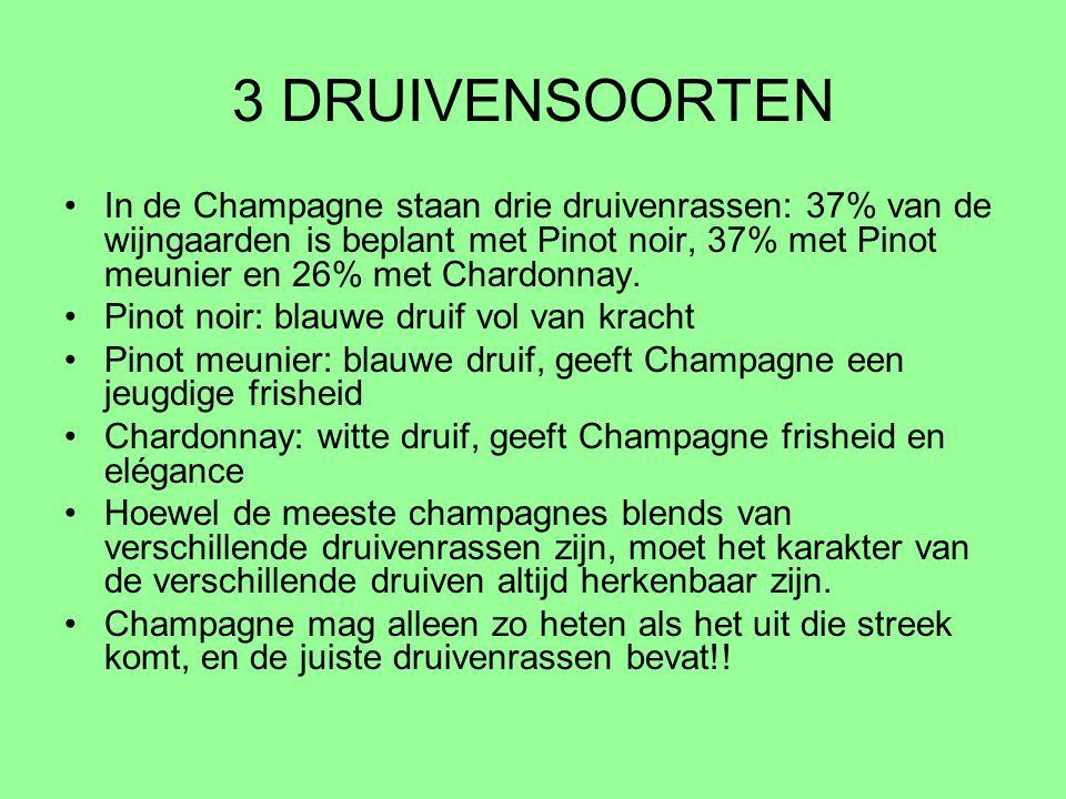 3 DRUIVENSOORTEN In de Champagne staan drie druivenrassen: 37% van de wijngaarden is beplant met Pinot noir, 37% met Pinot meunier en 26% met Chardonn