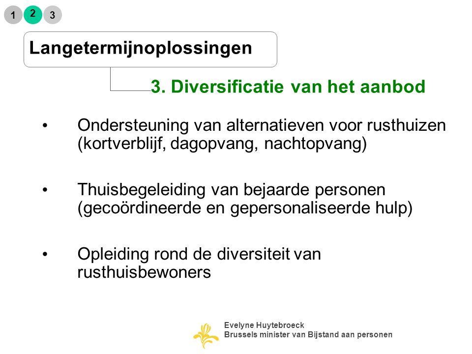2 1 3 3. Diversificatie van het aanbod Ondersteuning van alternatieven voor rusthuizen (kortverblijf, dagopvang, nachtopvang)  Thuisbegeleiding van b