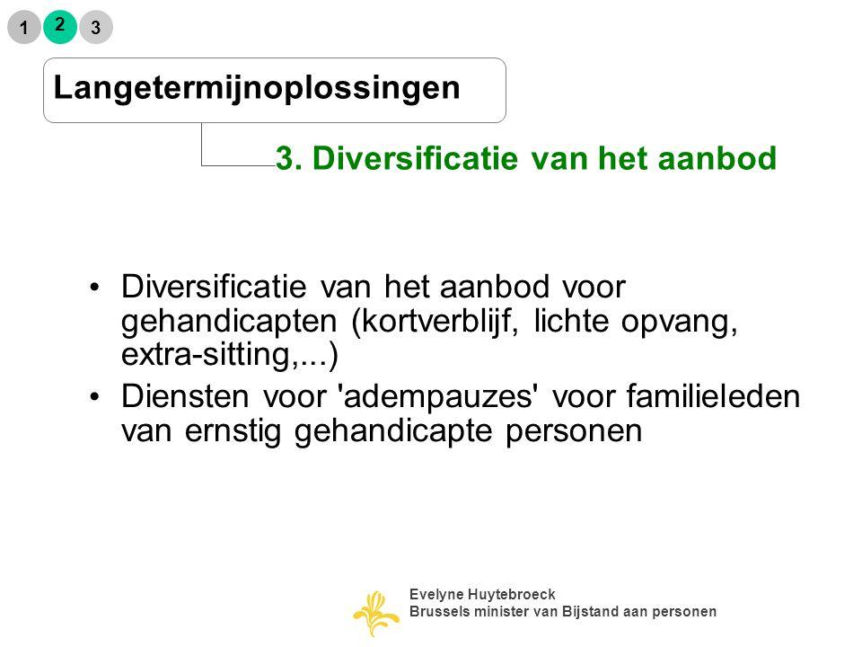 2 1 3 3. Diversificatie van het aanbod Langetermijnoplossingen Diversificatie van het aanbod voor gehandicapten (kortverblijf, lichte opvang, extra-si