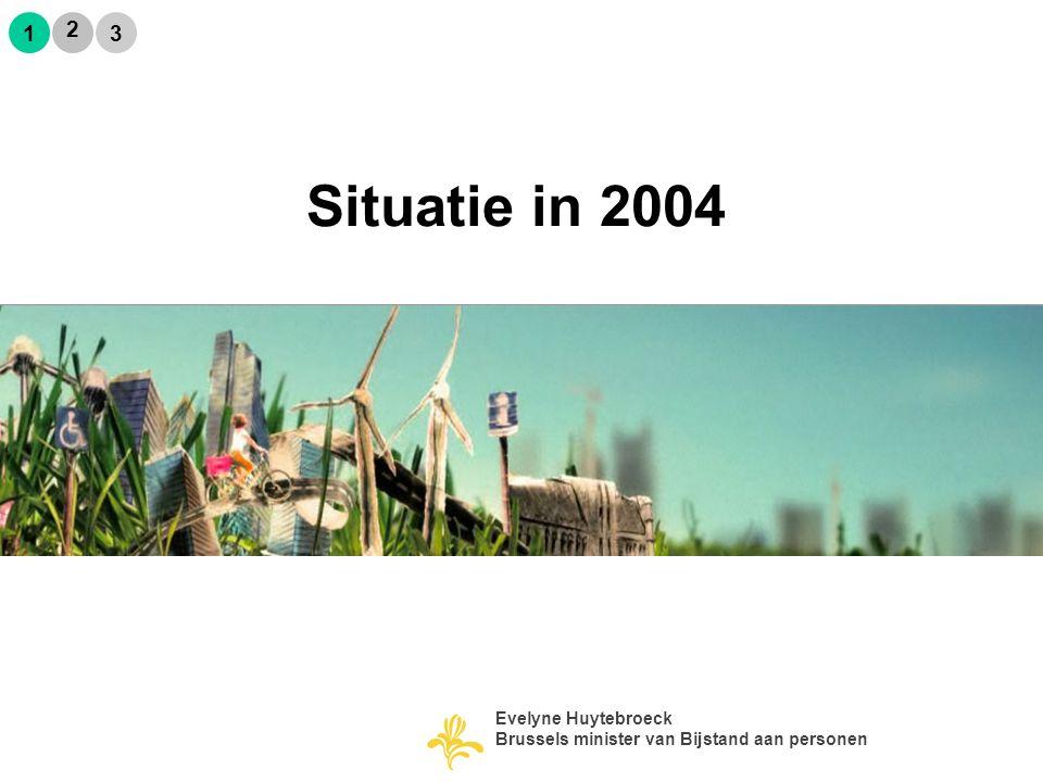 Praktijken niet meer aangepast aan de realiteit van de betrokken bevolkingsgroepen: Situation en 2004 2 1 3 Evelyne Huytebroeck Brussels minister van Bijstand aan personen