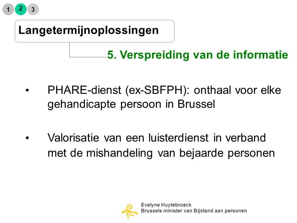 5. Verspreiding van de informatie 2 1 3 Langetermijnoplossingen PHARE-dienst (ex-SBFPH): onthaal voor elke gehandicapte persoon in Brussel Valorisatie