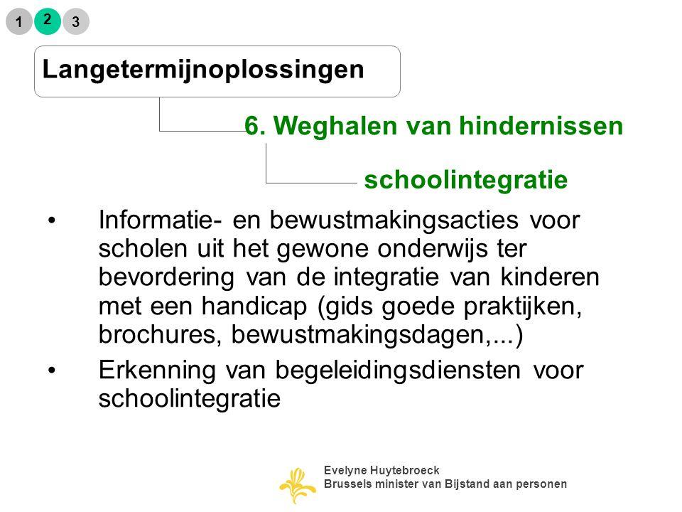 schoolintegratie 2 1 3 6. Weghalen van hindernissen Langetermijnoplossingen Informatie- en bewustmakingsacties voor scholen uit het gewone onderwijs t