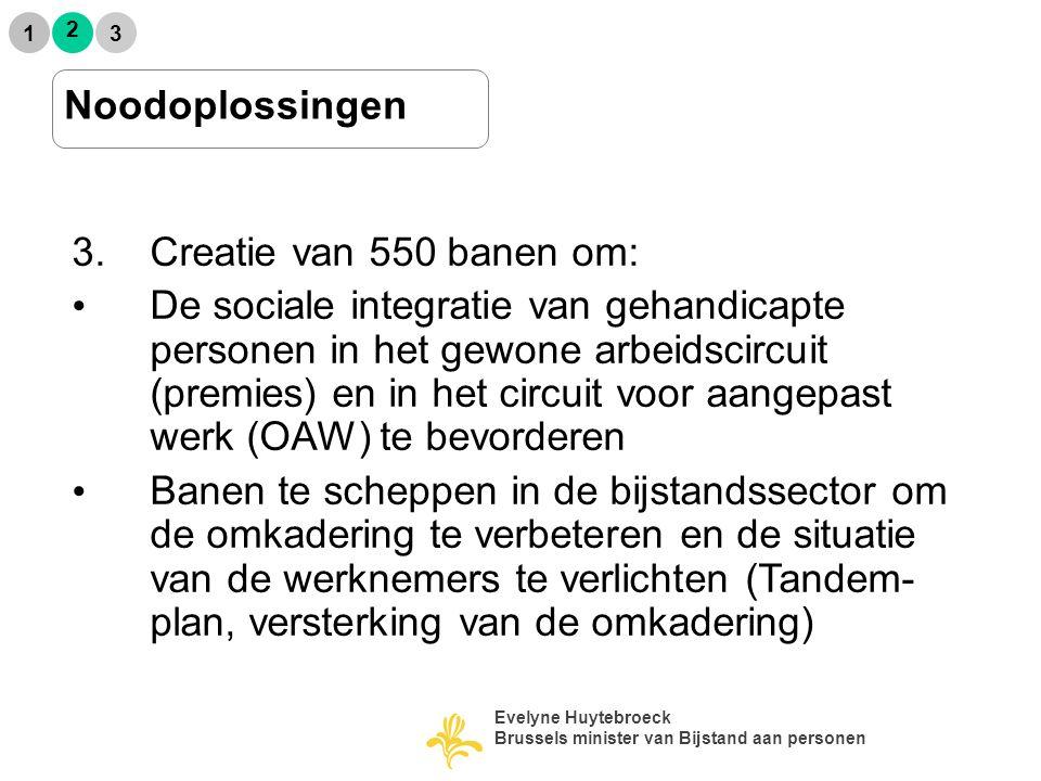 2 1 3 Noodoplossingen 3.Creatie van 550 banen om: De sociale integratie van gehandicapte personen in het gewone arbeidscircuit (premies) en in het circuit voor aangepast werk (OAW) te bevorderen Banen te scheppen in de bijstandssector om de omkadering te verbeteren en de situatie van de werknemers te verlichten (Tandem- plan, versterking van de omkadering)  Evelyne Huytebroeck Brussels minister van Bijstand aan personen