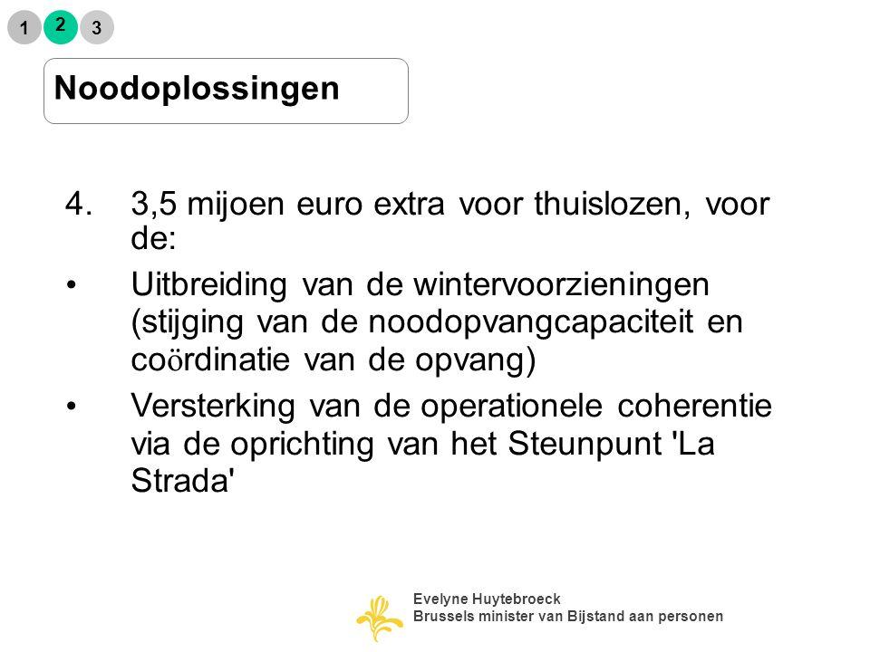 2 1 3 Noodoplossingen 4.3,5 mijoen euro extra voor thuislozen, voor de: Uitbreiding van de wintervoorzieningen (stijging van de noodopvangcapaciteit e