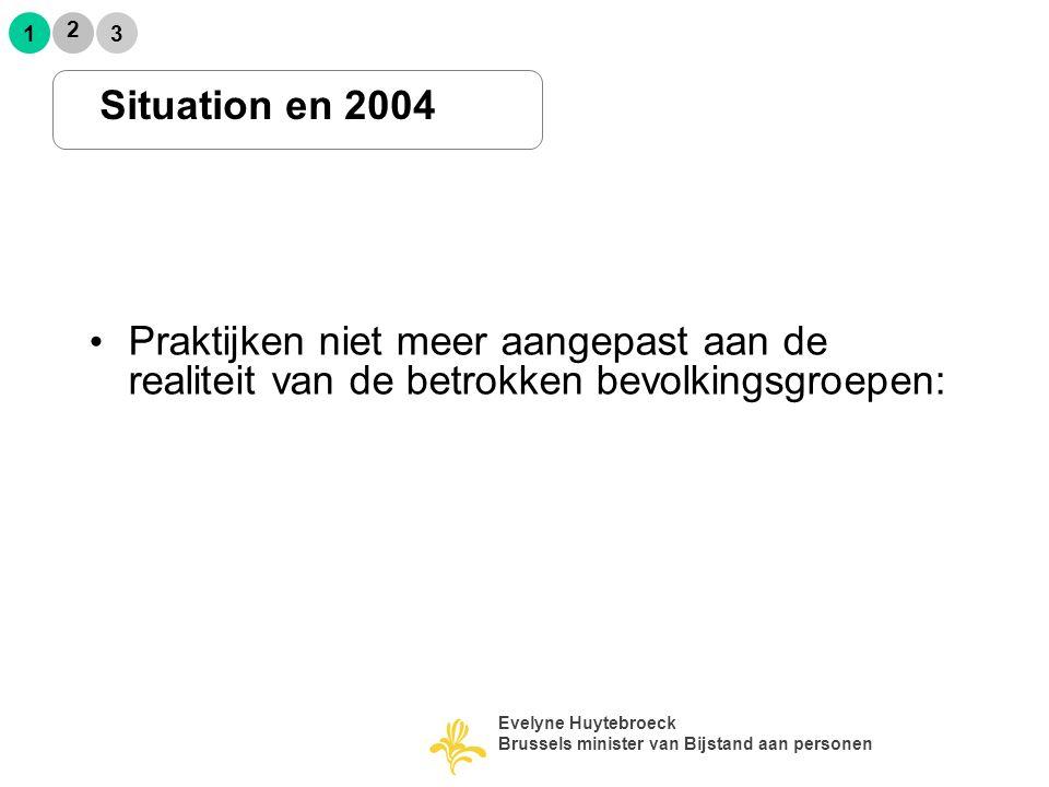 Praktijken niet meer aangepast aan de realiteit van de betrokken bevolkingsgroepen: Situation en 2004 2 1 3 Evelyne Huytebroeck Brussels minister van