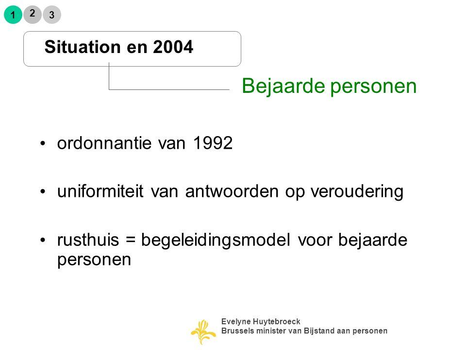 ordonnantie van 1992 uniformiteit van antwoorden op veroudering rusthuis = begeleidingsmodel voor bejaarde personen Situation en 2004 Bejaarde persone