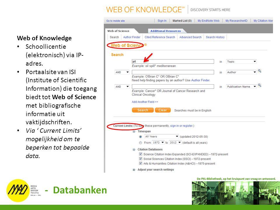 Web of Knowledge Schoollicentie (elektronisch) via IP- adres. Portaalsite van ISI (Institute of Scientific Information) die toegang biedt tot Web of S