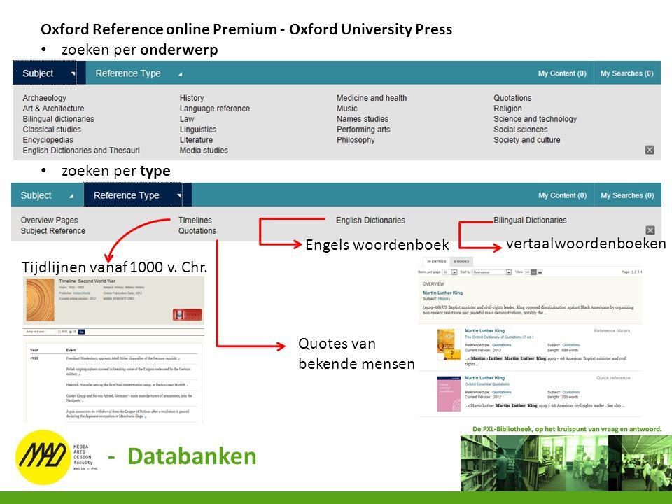 Oxford Reference online Premium - Oxford University Press zoeken per onderwerp zoeken per type Engels woordenboek vertaalwoordenboeken Tijdlijnen vana