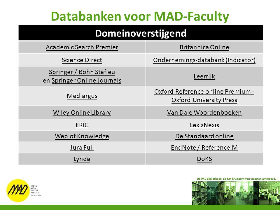 Databanken voor MAD-Faculty Domeinoverstijgend Academic Search PremierBritannica Online Science DirectOndernemings-databank (Indicator) Springer / Boh