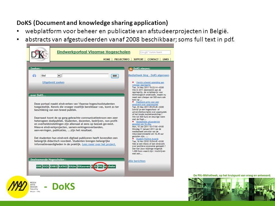 DoKS (Document and knowledge sharing application) webplatform voor beheer en publicatie van afstudeerprojecten in België. abstracts van afgestudeerden