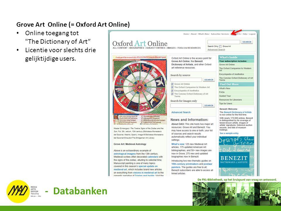 Grove Art Online (= Oxford Art Online) Online toegang tot