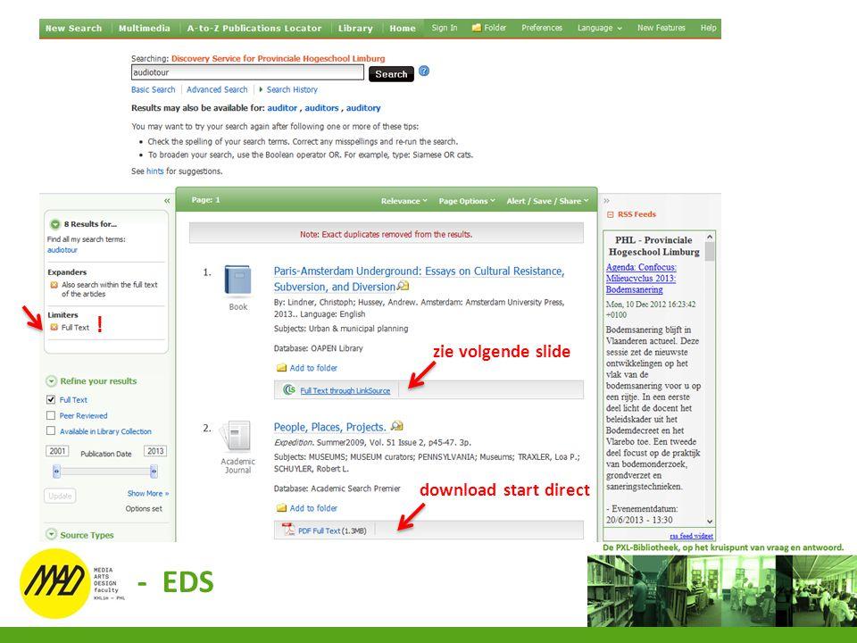 download start direct zie volgende slide ! - EDS