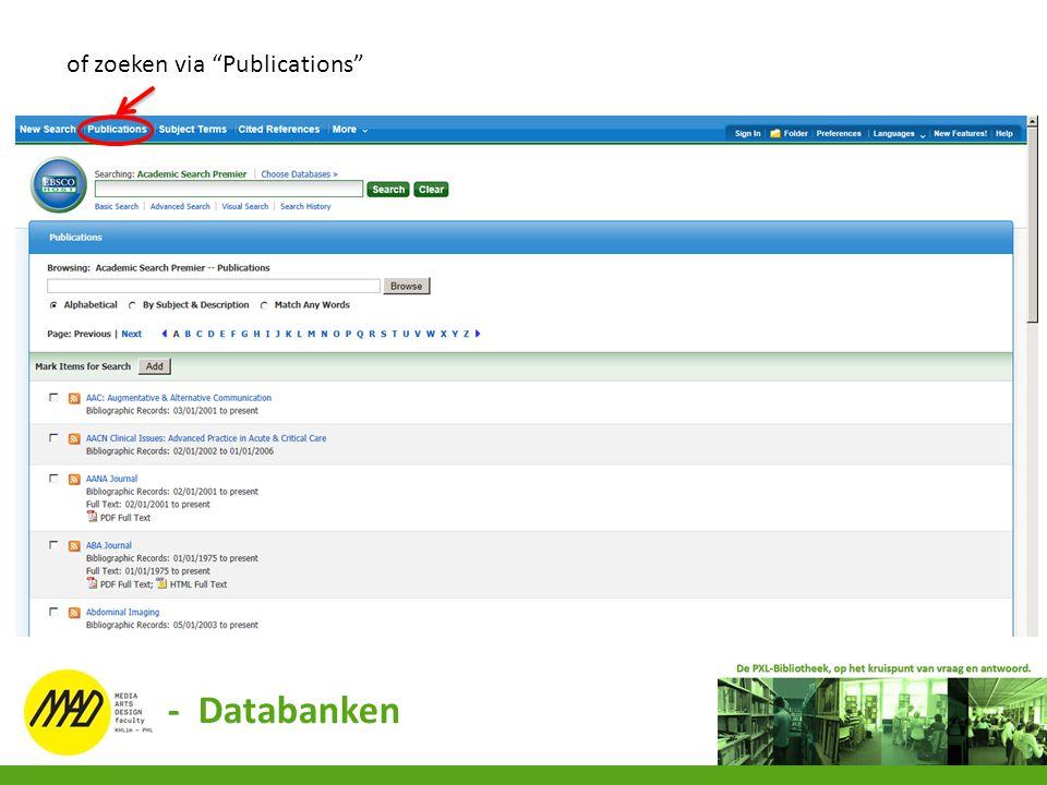 """of zoeken via """"Publications"""" - Databanken"""