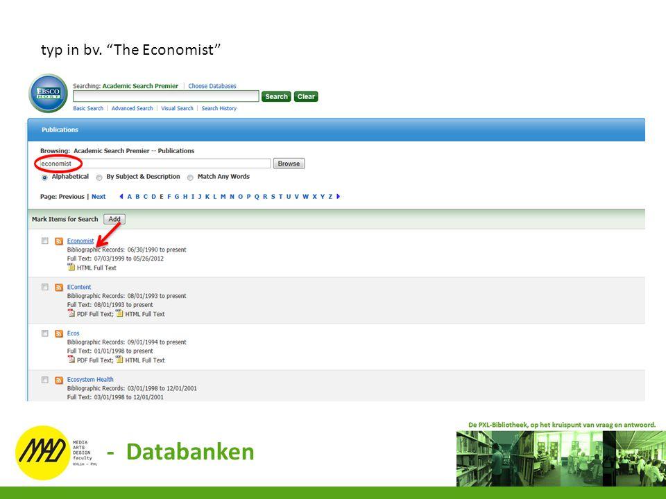 """typ in bv. """"The Economist"""" - Databanken"""