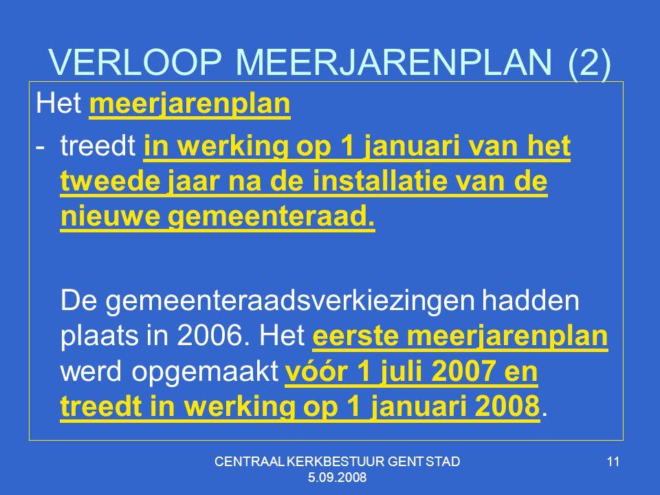 CENTRAAL KERKBESTUUR GENT STAD 5.09.2008 11 VERLOOP MEERJARENPLAN (2) Het meerjarenplan -treedt in werking op 1 januari van het tweede jaar na de inst