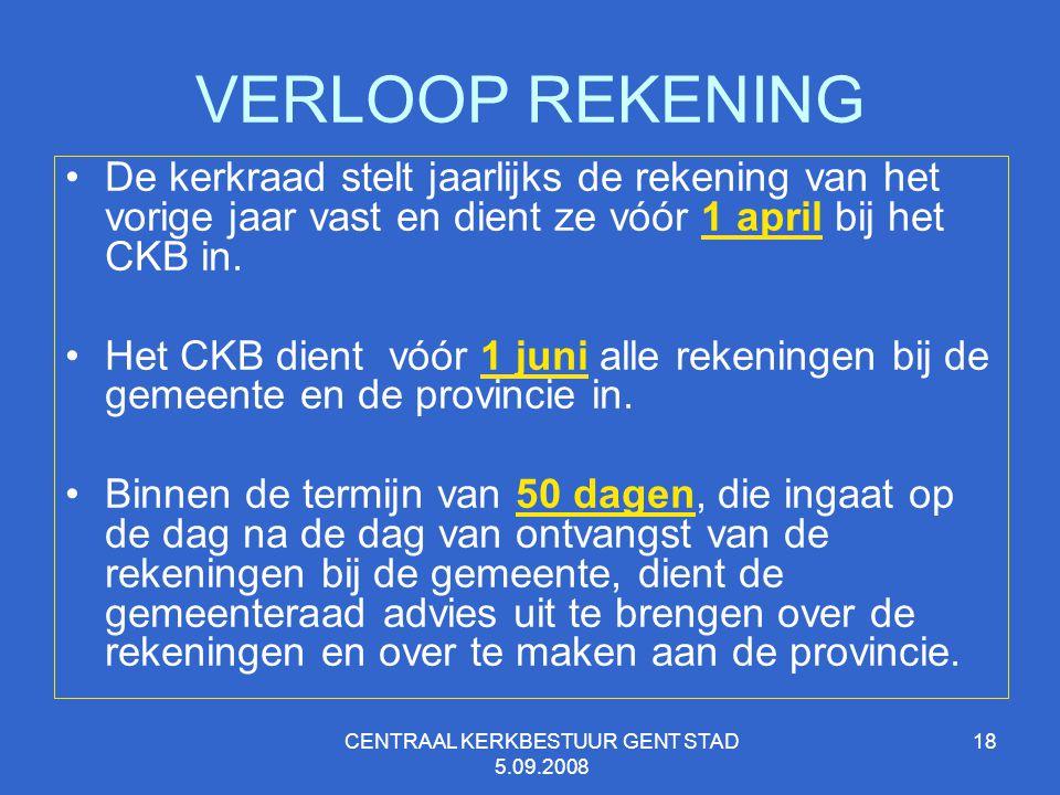CENTRAAL KERKBESTUUR GENT STAD 5.09.2008 18 VERLOOP REKENING De kerkraad stelt jaarlijks de rekening van het vorige jaar vast en dient ze vóór 1 april