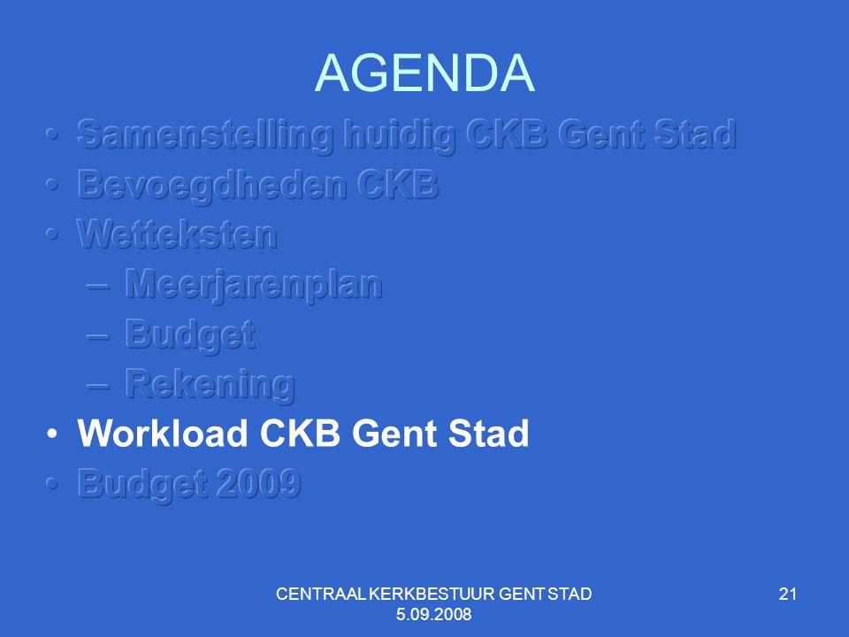 CENTRAAL KERKBESTUUR GENT STAD 5.09.2008 21 AGENDA