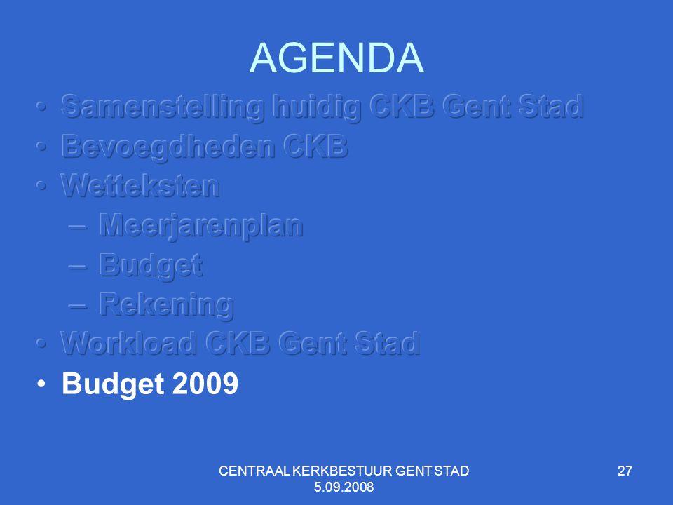 CENTRAAL KERKBESTUUR GENT STAD 5.09.2008 27 AGENDA