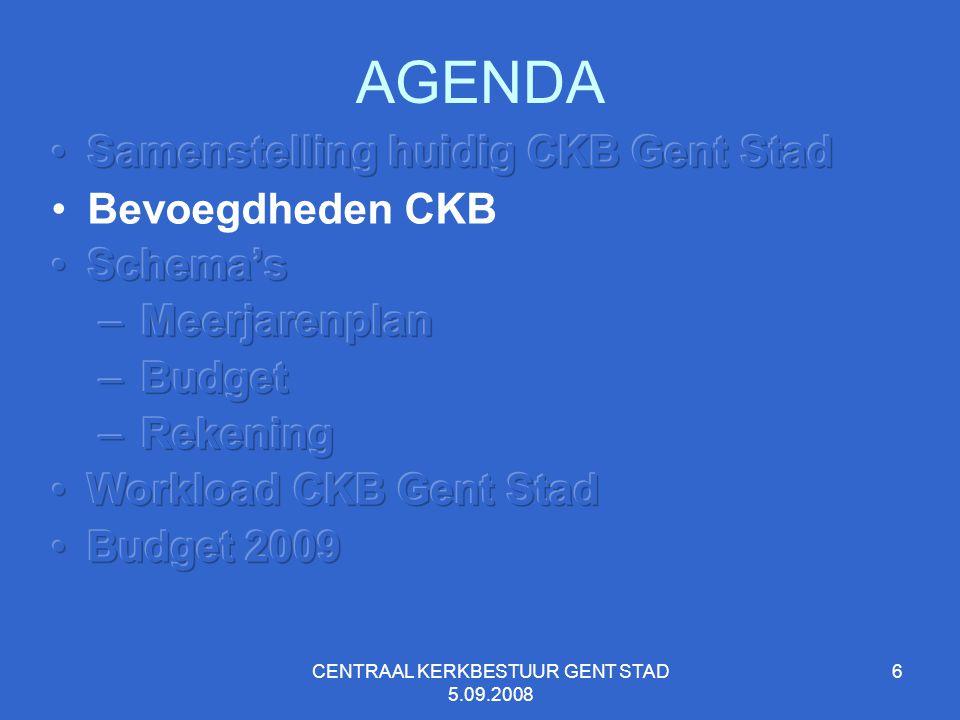 CENTRAAL KERKBESTUUR GENT STAD 5.09.2008 7 BEVOEGDHEDEN C K B 1.het gelijktijdig en gecoördineerd indienen bij de stad, het bisdom en de provincie van een meerjarenplan en de wijzigingen; 2.het gecoördineerd indienen na advies van het bisdom bij de stad van het budget en de wijzigingen; 3.het gezamenlijk indienen bij de stad en de provincie van de jaarrekeningen 4.