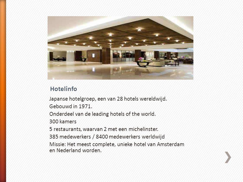 Japanse hotelgroep, een van 28 hotels wereldwijd. Gebouwd in 1971. Onderdeel van de leading hotels of the world. 300 kamers 5 restaurants, waarvan 2 m