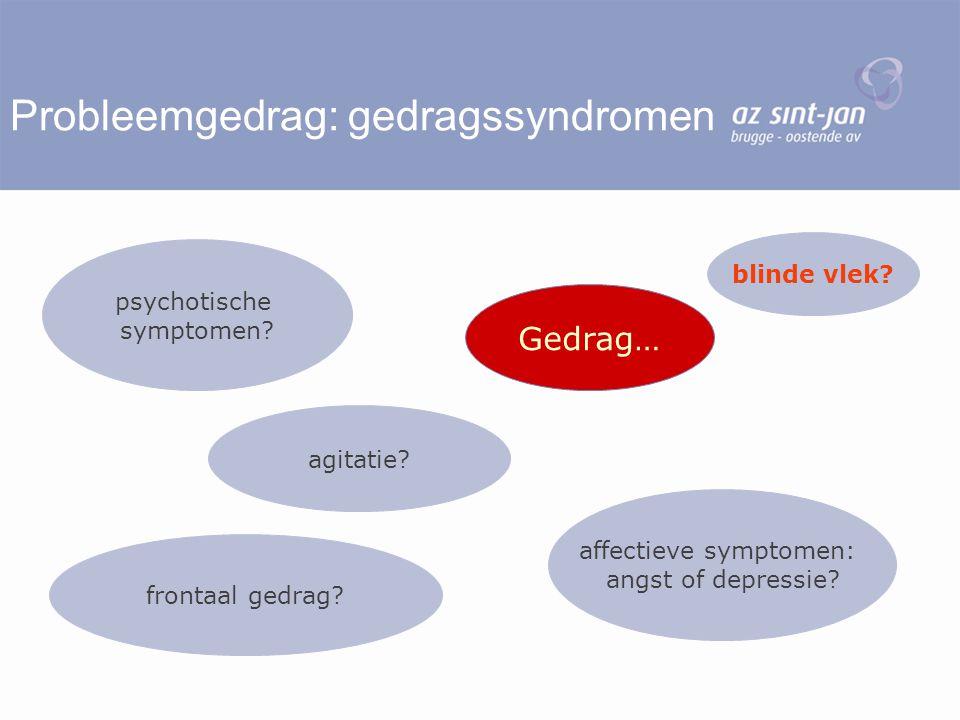 Probleemgedrag: gedragssyndromen Gedrag… affectieve symptomen: angst of depressie? frontaal gedrag? psychotische symptomen? agitatie? blinde vlek?