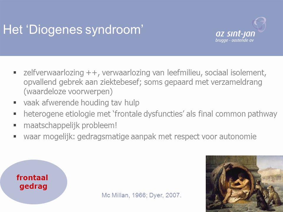 Het 'Diogenes syndroom'  zelfverwaarlozing ++, verwaarlozing van leefmilieu, sociaal isolement, opvallend gebrek aan ziektebesef; soms gepaard met ve