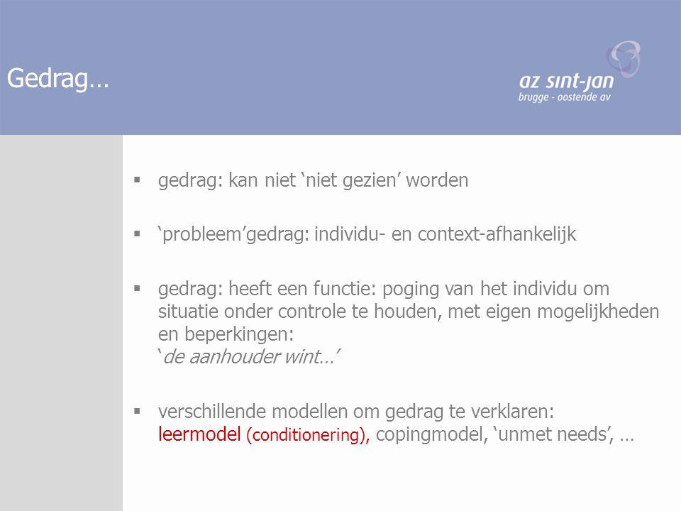 Gedrag…  gedrag: kan niet 'niet gezien' worden  'probleem'gedrag: individu- en context-afhankelijk  gedrag: heeft een functie: poging van het indiv