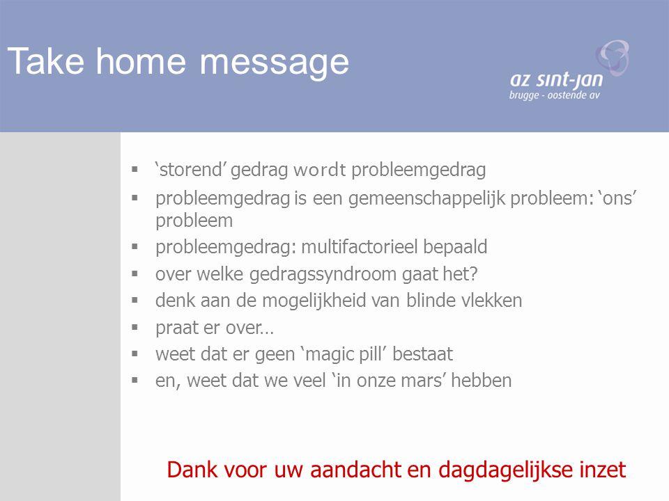 Take home message  'storend' gedrag wordt probleemgedrag  probleemgedrag is een gemeenschappelijk probleem: 'ons' probleem  probleemgedrag: multifa