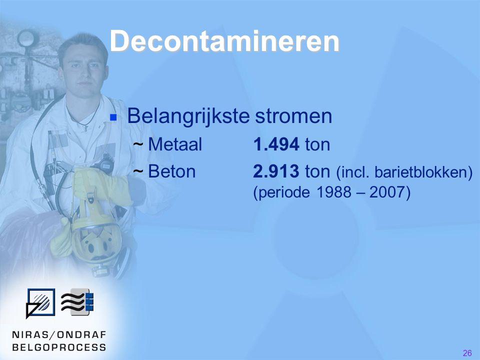 26 Decontamineren ■ Belangrijkste stromen ~Metaal1.494 ton ~Beton2.913 ton (incl.