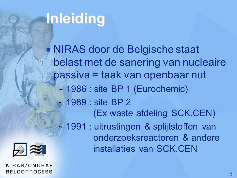 3 Inleiding ■ NIRAS door de Belgische staat belast met de sanering van nucleaire passiva = taak van openbaar nut ~ 1986 : site BP 1 (Eurochemic) ~ 1989 : site BP 2 (Ex waste afdeling SCK.CEN) ~ 1991 : uitrustingen & splijtstoffen van onderzoeksreactoren & andere installaties van SCK.CEN