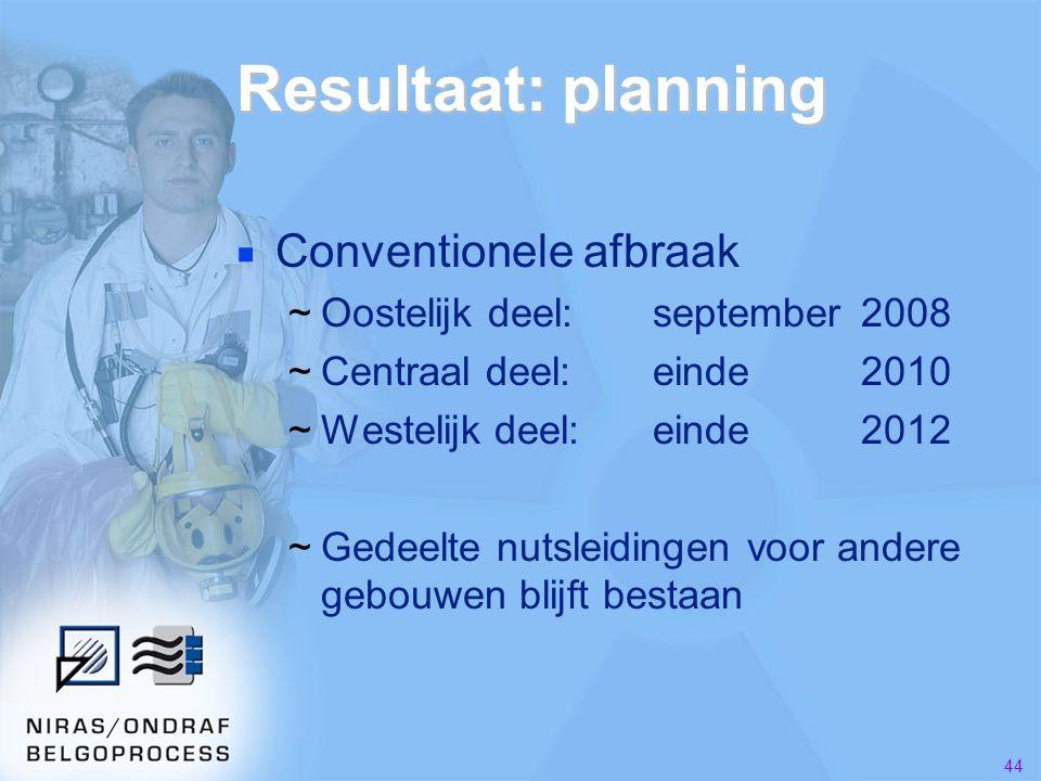 44 Resultaat: planning ■ Conventionele afbraak ~Oostelijk deel:september2008 ~Centraal deel:einde2010 ~Westelijk deel:einde2012 ~Gedeelte nutsleidingen voor andere gebouwen blijft bestaan