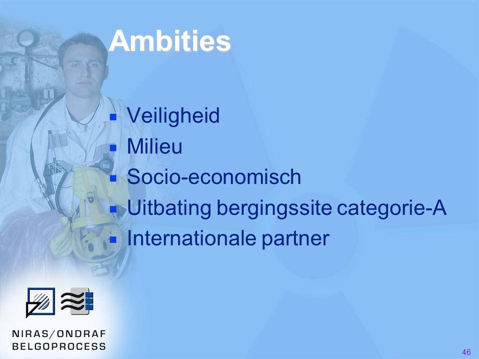 46 Ambities ■ Veiligheid ■ Milieu ■ Socio-economisch ■ Uitbating bergingssite categorie-A ■ Internationale partner