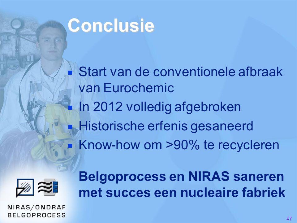 47 Conclusie ■ Start van de conventionele afbraak van Eurochemic ■ In 2012 volledig afgebroken ■ Historische erfenis gesaneerd ■ Know-how om >90% te recycleren Belgoprocess en NIRAS saneren met succes een nucleaire fabriek