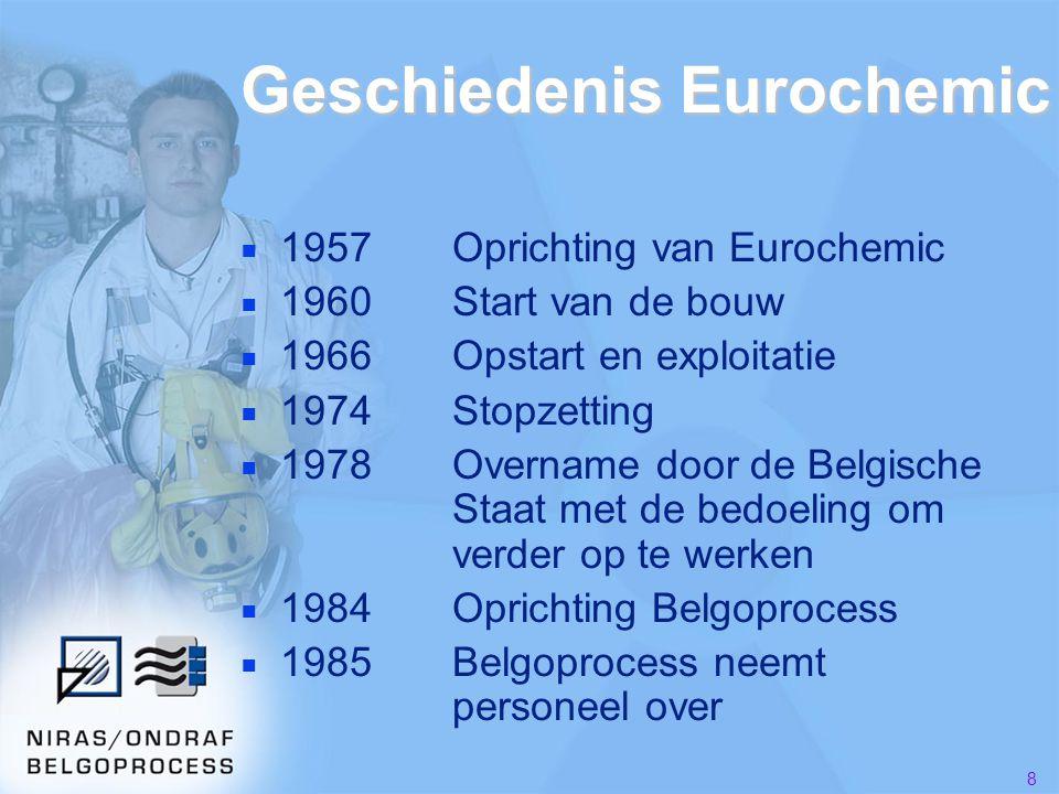 9 ■ 1986Beslissing geen opwerking meer in België  Overdracht aandelen naar NIRAS ■ 1987Start ontmantelingsstudies ■ 1989Start ontmanteling van pilootproject ■ 1990Start ontmanteling Eurochemic ■ 2008Start conventionele afbraak Geschiedenis Eurochemic