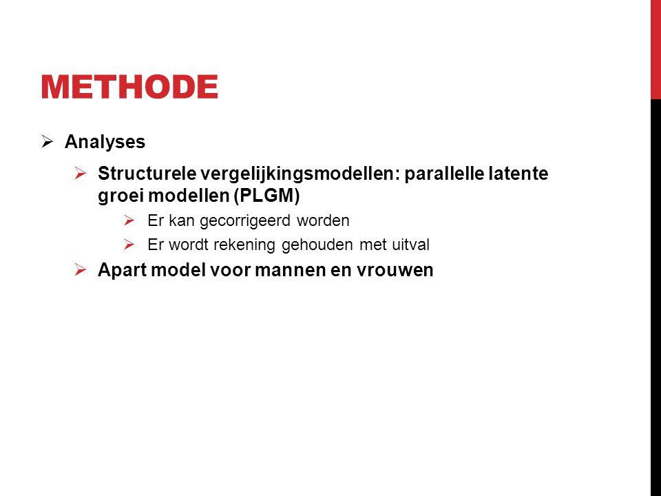 METHODE  Analyses  Structurele vergelijkingsmodellen: parallelle latente groei modellen (PLGM)  Er kan gecorrigeerd worden  Er wordt rekening gehouden met uitval  Apart model voor mannen en vrouwen