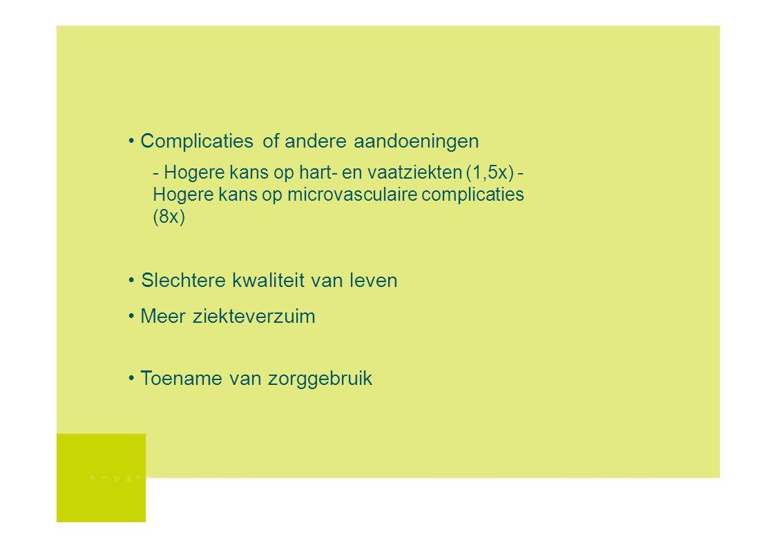 Complicaties of andere aandoeningen - Hogere kans op hart- en vaatziekten (1,5x) - Hogere kans op microvasculaire complicaties (8x) Slechtere kwalitei