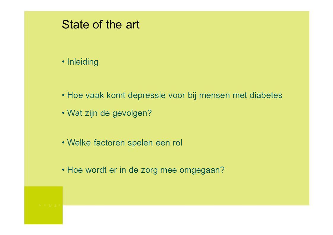 State of the art Inleiding Hoe vaak komt depressie voor bij mensen met diabetes Wat zijn de gevolgen? Welke factoren spelen een rol Hoe wordt er in de