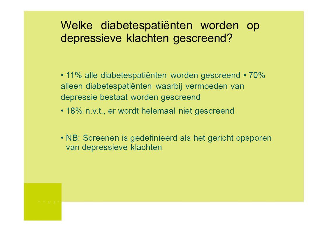 Welke diabetespatiënten worden op depressieve klachten gescreend? 11% alle diabetespatiënten worden gescreend 70% alleen diabetespatiënten waarbij ver