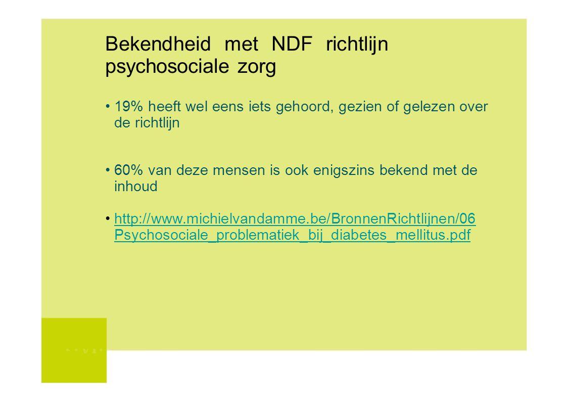 Bekendheid met NDF richtlijn psychosociale zorg 19% heeft wel eens iets gehoord, gezien of gelezen over de richtlijn 60% van deze mensen is ook enigsz