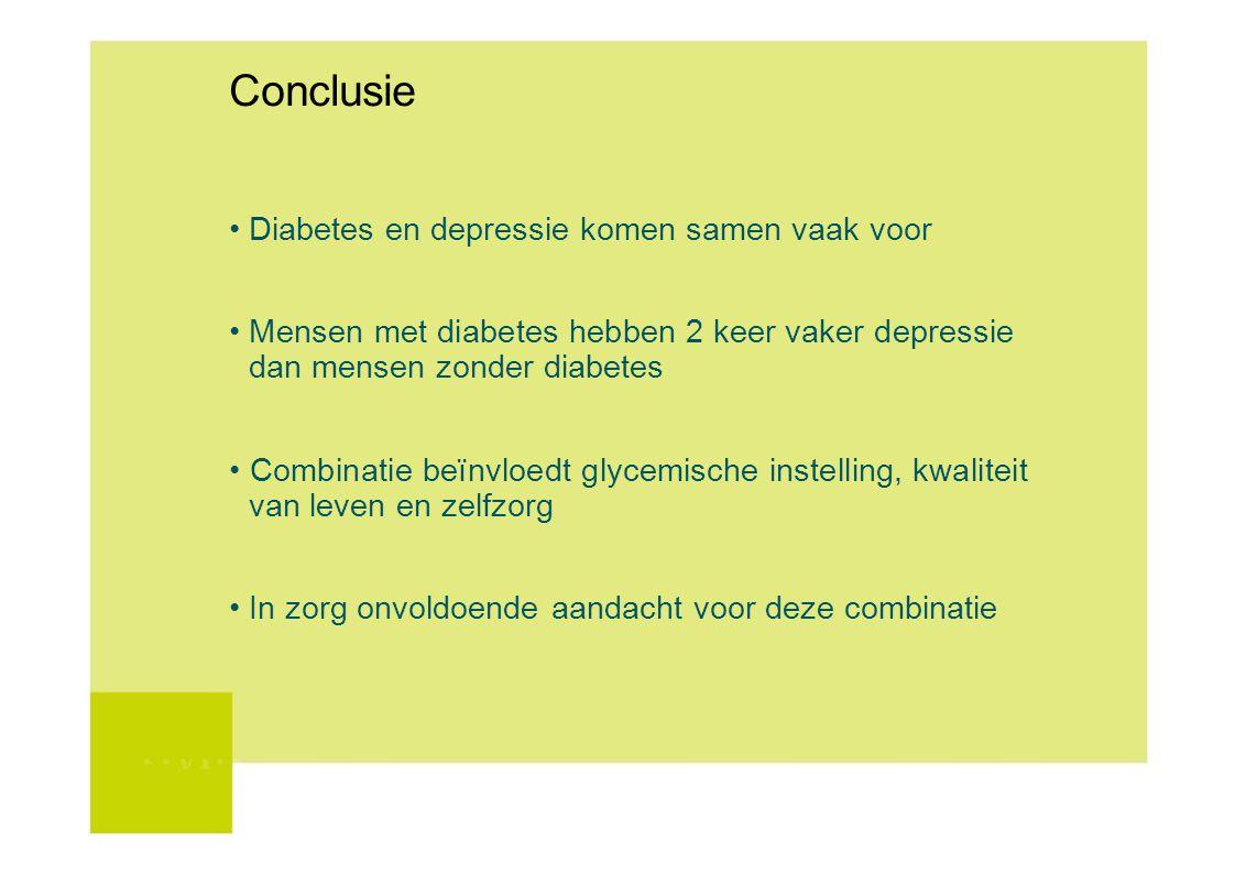 Conclusie Diabetes en depressie komen samen vaak voor Mensen met diabetes hebben 2 keer vaker depressie dan mensen zonder diabetes Combinatie beïnvloe