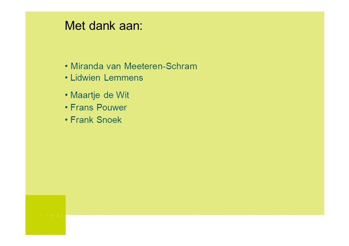 Met dank aan: Miranda van Meeteren-Schram Lidwien Lemmens Maartje de Wit Frans Pouwer Frank Snoek