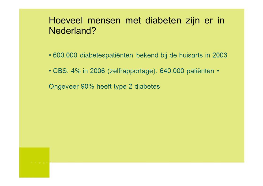 Hoeveel mensen met diabeten zijn er in Nederland? 600.000 diabetespatiënten bekend bij de huisarts in 2003 CBS: 4% in 2006 (zelfrapportage): 640.000 p
