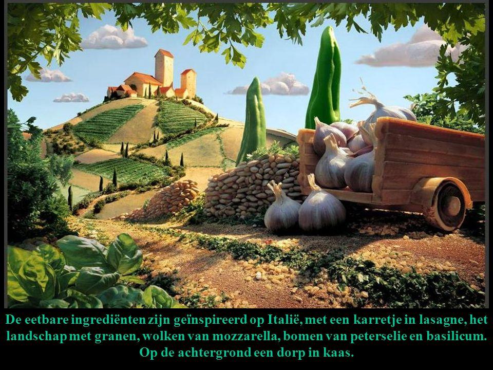 De eetbare ingrediënten zijn geïnspireerd op Italië, met een karretje in lasagne, het landschap met granen, wolken van mozzarella, bomen van peterselie en basilicum.